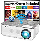 Native 1080P Projector 5G WiFi and Bluetooth, FANGOR 8500L Outdoor Projector 4K Support, Home Movie Projector Compatible with TV, PC, HDMI, USB, VGA, iOS/Android[120''Screen Included]