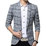 ODFMCE ジャケット メンズ スーツ テーラードジャケット ビジネス カジュアル 紳士 スリム おおきいサイズ (グレー, XL)