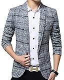 ODFMCE ジャケット メンズ スーツ テーラードジャケット ビジネス カジュアル 紳士 スリム おおきいサイズ (グレー, XXXL)