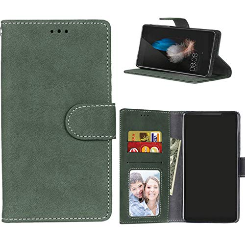 Boloker Kompatible mit Xperia C4 Hülle, DREI Kartenfächer Handyhülle PU Leder Schutzhülle PU Leder Handyhülle Wallet Hülle Flip Hülle Brieftasche Ledertasche (Grün)