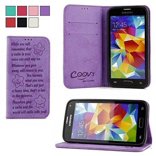 COOVY® Cover für Samsung Galaxy S5 SM-G900F SM-G901F Neo SM-G903F Case Wallet Schutz Etui mit Kartenfach, Standfunktion + Schutzfolie - Design Smile | Farbe lila
