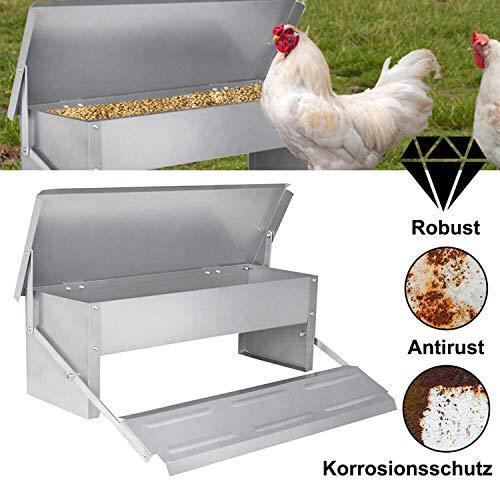 Hengda Automatischer 5KG Hühner Futterspender Tröge, Fußpedal selbstöffnender Futtertrog, wasserdichter, rostfester, rattenfester Hühnertrog aus verzinktem Stahl Futterbehälter