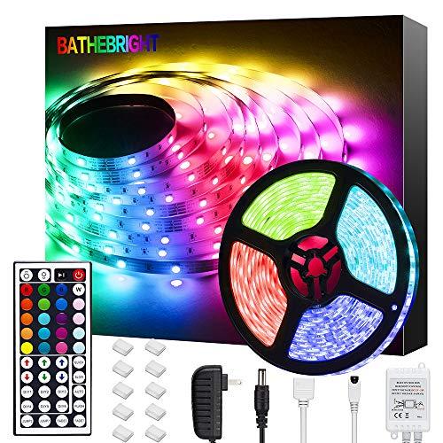 Bathebright LED Strip Lights 16.4ft RGB LED Light Strip with Remote Color Changing 5050 LED Rope Lights for Home Lighting Kitchen Bed Flexible Strip Lights for Bar Home Decoration