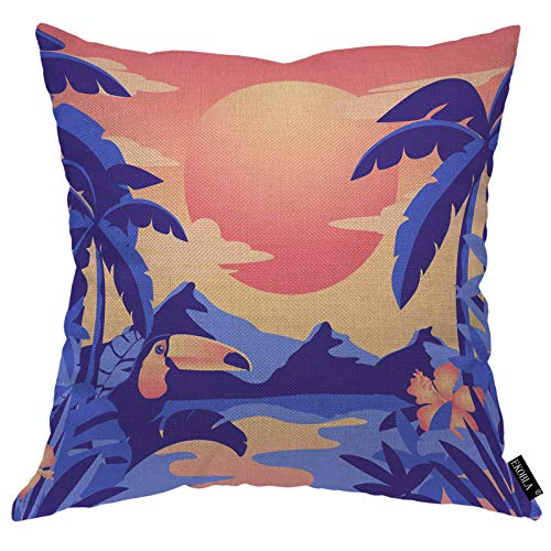 EKOBLA Toucan and Palms Throw Pillow Covers Tropical Blue Mountains Rain Forest Orange Sunset Wildlife Decorative Cushion Case for Merry Christmas Men Women Home Cotton Linen 20x20 Inch
