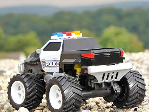 RC Auto kaufen Monstertruck Bild 3: Diawell RC ferngesteuertes Polizei Pick Up Polizeiauto Monstertruck Truck Vollfederung Warnlicht 210 mm Lang*