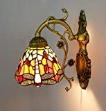 Aplique de pared Lámpara estilo Tiffany Lámpara de pared Libélula Luz de dormitorio Luz de pasillo Luz retro LED Estilo Tiffany para casa, bar, restaurantes, cafetería