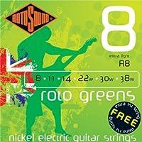 CUERDAS GUITARRA ELECTRICA - Rotosound (R/8) Extra Lite/Roto Greens (Juego Completo 008/040E)