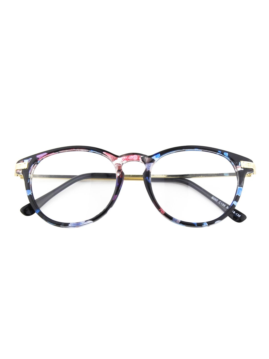 Happy Store CN92 Fashion Keyhole Metal Temple Oval Horn Rimmed Clear Lens Glasses