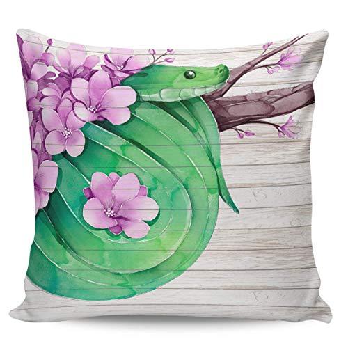 Funda de almohada cuadrada de pitón de acuarela, funda de almohada duradera para sofá cama, 45 cm x 45 cm, fundas de lona para almohada para sofá, decoración del hogar, flor morada floral, serpiente v
