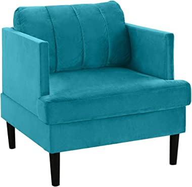 Mid Century Modern Velvet Armchair, Living Room Accent Chair (Blue)
