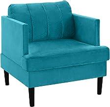 كرسي للذراع من كاسا أندريا ميلانو بتصميم مخملي حديث منتصف القرن باللون الأزرق)