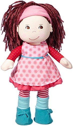 Haba 3944 - Puppe Clara, hübsche Stoffpuppe ab 18 Monaten, mit Haarband, Kleiderset und weichen Haaren