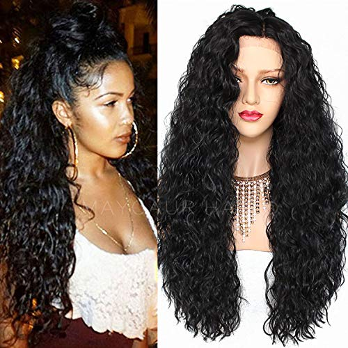 Maycaur Hair Loose Curly Synthetic Lace Front Wigs Glueless Long Kinky Curly Wig High Temperature Heat Resistant Fiber Wigs with Baby Hair Black Color for Women 24 Inch