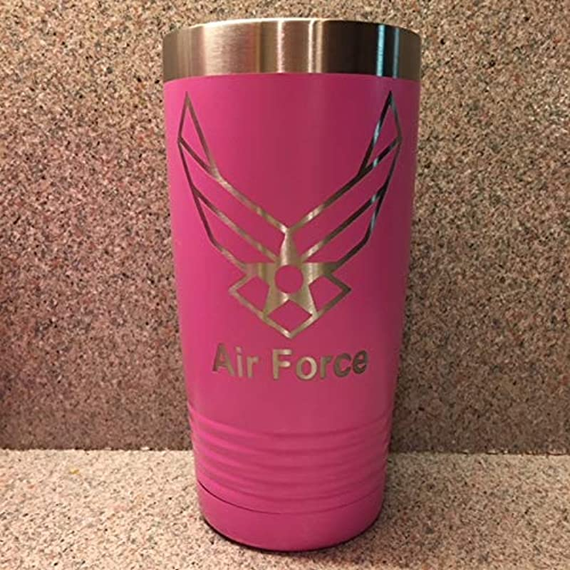 Air Force Stainless Steel Insulated Tumbler With Clear Sip Style Lid 20 Oz Pink For All The Wives And Women Who Have Served Veterans Gift Gift For Her Female Service Members Air Force