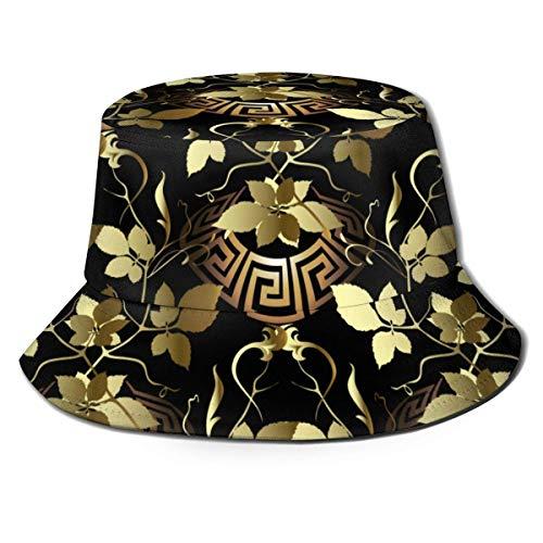 Out GuoAiYunShop - Sombrero de pescador, diseño de hojas doradas en 3D, diseño griego, sin costuras, para hombres y mujeres