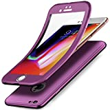 Compatible con iPhone 6S, funda para iPhone 6, carcasa completa de 360 grados, protector de pantalla de TPU de silicona, funda frontal doble cara para iPhone 6S/6, lila