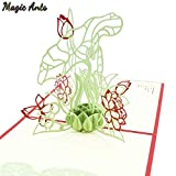 Lotus 3D Pop-Up Card Birthday Gift with envelope sticker Flower laser cut invitation Greeting Card postcard kirigami mothers day