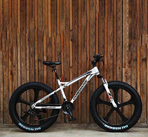 AISHFP Bicicleta de montaña para Fat Tire, Freno de Disco Doble/Bicicletas de Crucero con Marco de Acero de Alto Carbono, Bicicleta de Moto de Nieve de Playa, Ruedas de 24 Pulgadas