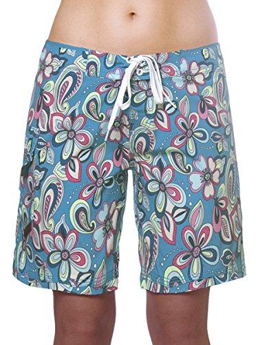 "Maui Rippers Women's 4-Way Stretch 9"" Swim Shorts Boardshorts (16, Aqualani)"