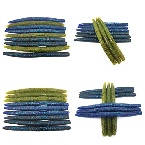 TOPTACKLE 36 Pack Senko Worms for Bass Fishing at 3 Popular Colors (36-pc 5' Senko Baits at 3 Colors 01)