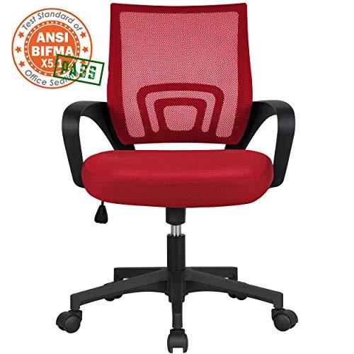 Yaheetech Silla de Oficina Silla de Malla Altura Ajustable para Trabajo Silla Escritorio Ergonómica Giratoria Roja