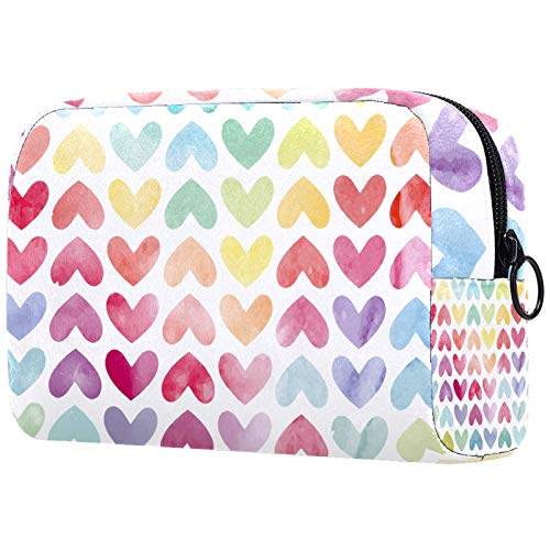 Small Makeup Bag for Purse Travel Makeup Pouch Mini Cosmetic Bag for Women Girls Colorful Love Loving Heart