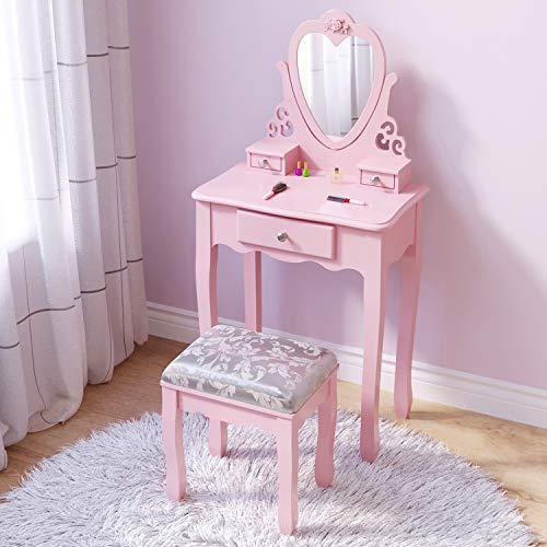 Coiffeuse de filles roses, petite coiffeuse pour fille enfant de 3,4,5,6,7,8 ans, coiffeuse de style princesse européenne