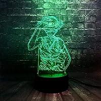 giyiohok3DイリュージョンランプLEDナイトランプ漫画効果7色リモート充電バズ新年の装飾キッズデコレーションスリーピングテーブルランプムードおもちゃギフト-N15-N10