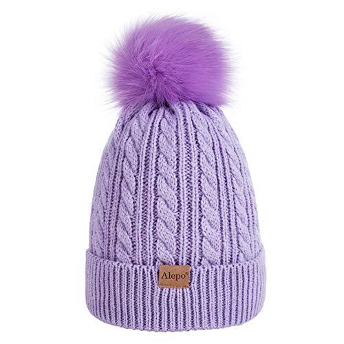 Kids Toddler Baby Winter Beanie Hat, Children's Warm Fleece Lined Knit Thick Ski Cap with Pom Pom for Boys Girls (Purple)
