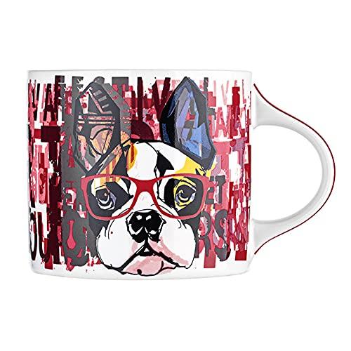 XIAOLINGTONG Taza de cerámica Tazas de café Microondas Calefacción Posible Porcelana Taza 350 ml para oficina y regalo de salud en el hogar, próspero