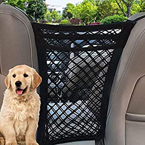 TIANFAN Car Dog Barrier, 3 Layers Pet Barrier Dog Net for Car,SUV Between Seats, Auto Safety Mesh Organizer Baby Stretchable Storage Bag – Safety Car Divider for Children and Pets