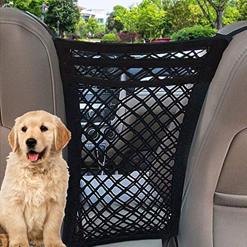 TIANFAN Car Dog Barrier, 3 Layers Pet Barrier Dog Net for Car,SUV Between Seats, Auto Safety Mesh Organizer Baby Stretchable Storage Bag - Safety Car Divider for Children and Pets