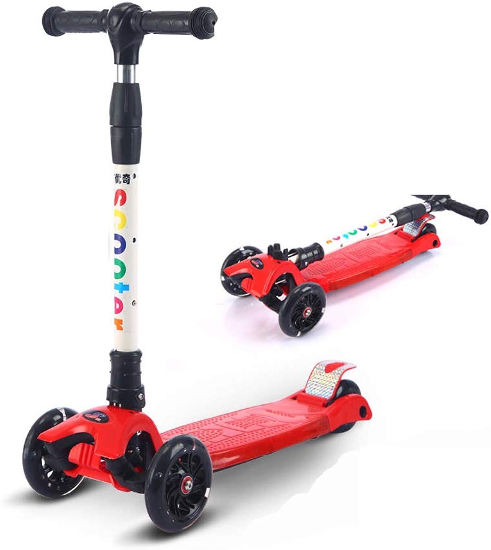 SSLHDDL Kinderroller Dreiradscooter mit PU LED Leuchtenden Rder und 3 Stufen Einstellbare Hhe Doppel-Hinterrad Big Wheel für Kinder 3-12 Jahre alt