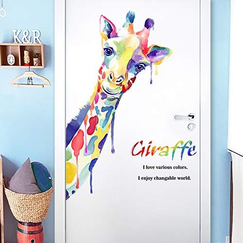 Creatieve Persoonlijkheid Giraffe Deur Stickers Slaapkamer Transformatie Behang Zelfklevende Slaapzaal Layout Decoratieve Muurstickers Muurstickers