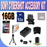 Sony Cyber-Shot Dsc-w510/w530/560/570 16GB Accessory Kit (16GB SDHC Card+ Extended Life Battery+ Rapid Charger + Accessory Kit)