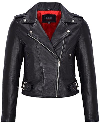 Damen Echtleder Brando Biker Style ausgestattete Jacke Kurze Länge schwarz mit rotem Innenfutter (8)