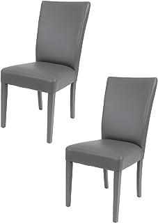 t m c s Tommychairs - Set 2 sillas Martina para Cocina, Comedor, Bar y Restaurante, solida Estructura en Madera de Haya y Asiento tapizado en Polipiel Gris Oscuro