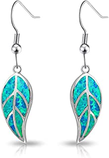 Opal Leaf Dangle Earrings-Created Fire Opal 18K White Gold Plated Drop Earrings for Women Jewelry Gemstone Dangle Earrings 1 5/8