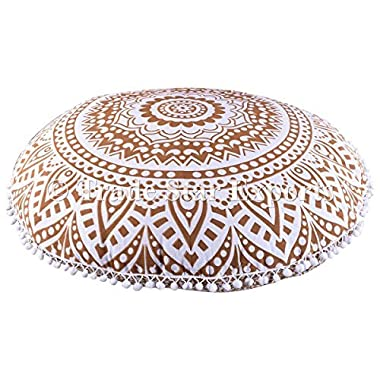 Large Golden Ombre Mandala Floor Cushions, Decorative Throw Pillowcases 32 , Round Pouf Ottoman, Indian Outdoor Cushion Cover, Boho Pom Pom Pillow Shams