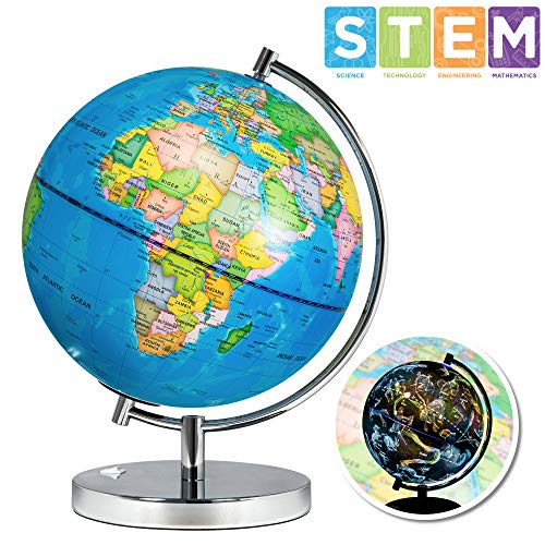Best Choice Products 7.5in 2-in-1 Kids Light-Up World Geographical Globe w/ Day and Night View, Constellations
