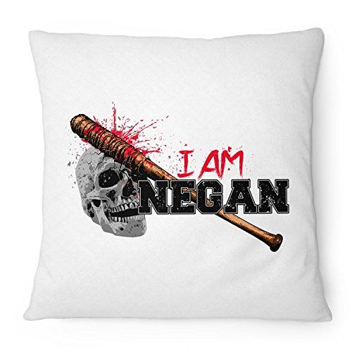 Fashionalarm Kissen I Am Negan - 40x40 cm mit Füllung | Geschenk Idee für Fans der Serie T-W-D | Dead Walking Lucille Saviors Baseballschläger, Farbe:weiß