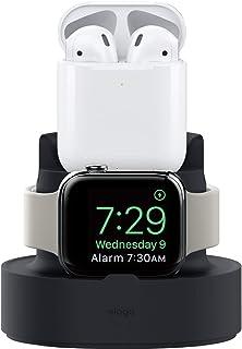 【elago】 Apple Watch/AirPods 充電 スタンド 2in1 シリコン 充電ドック アクセサリ 純正ケーブル のみ対応 MINI CHARGING HUB [ Apple AirPods1 / AirPods2 & AppleWatch Series4 Series3 Series2 series1 アップルウォッチ エアーポッズ 各種 ] ブラック
