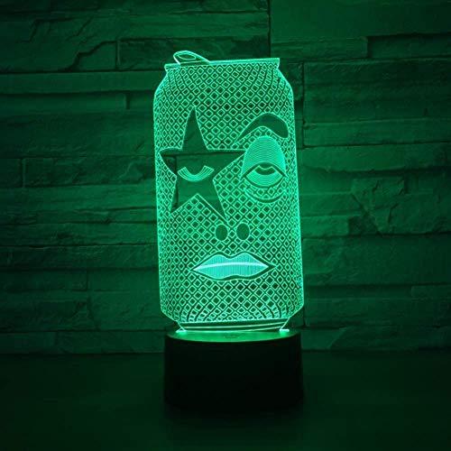 Lámpara visual 3D Ilusión óptica Luz nocturna LED 7 colores cambiantes Luz nocturna táctil Un regalo perfecto de Navidad y Año Nuevo para niñas y niños-Botella de bebida
