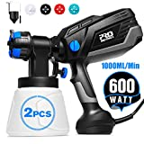 Paint Sprayer, Prostormer 1000ml/min HVLP Electric Paint Spray Gun with 3 Spraying Patterns, 4 Nozzle Sizes, 2Pcs 1000ml Detachable Containers, Easy to Spray and Clean