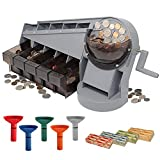 Nadex Anti-Jam Hand Crank Coin Sorter and Wrapper   Sort up to 350 Coins Per Minute Into Bins   Sorting Tubes and 272 Coin Wrappers Included   Sorts All U.S Coins Wet or Dry