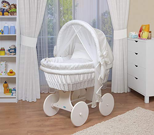 WALDIN Landau/berceau pour bébé complet -44 modèles disponibles,Cadre/Roues blanc laqué,couleur du tissu blanc