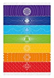 Rainbow 7 Chakra Blanket Meditation Yoga Rug Towels Mexico Chakras Tassel Striped Floor Mat Sunscreen Shawl Soft Microfiber 59x30 Inches