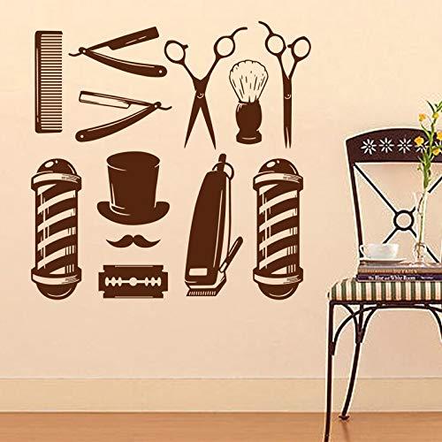 Aicedu BarberShop® stickers ChopPaint-trekker, voor haren, scheerapparaten, posters, decoratie, 58 x 58 cm