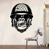 Tianpengyuanshuai Gorille Sticker Mural Chambre garçon Chambre Singe armée Sticker Mural Chambre d'enfants Vinyle décoration de la Maison 52X81 cm