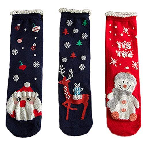 PRETYZOOM de Calcetines de Navidad con patrón de muñeco de Nieve Medias de Dibujos Animados Caja de Calcetines adorables 3 Pares